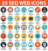 SEO and Development 35 Icons.SEO web icons set isolated on white background.Set also ideal for Web Marketing,Social Media Services Showcase, Marketing Apps or Presentations.SEO round flat icons.