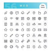 Set of 56 web line icons suitable for web, infographics and apps. Isolated on white background. Clipping paths included.