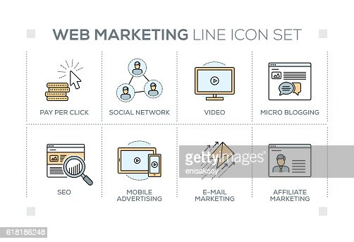 Web Marketing keywords with line icons : Vector Art