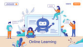 Web Page Chatbots Online Learning Data. Self Learning Virtual Assistants welcoming on PC Screen. Male, Female Conversation, Chatting. Banner Website with Woman Surfing Internet, Searching Man