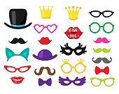 Vector set of 23 piece photo booth props - wedding, party, birthday decorations