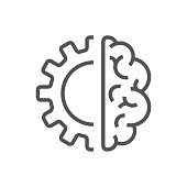 Creative Brain Concept Logo Design Template. AI, Iot, Industry 4.0. EPS 10