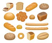 Bread, bakery products set in cartoon style isolated on white