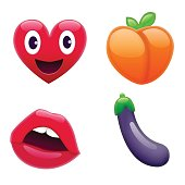 Set of Fantastic Smiley Emoticons, Emoji Design Set. Bright Icons of Love. Heart, Peach, Lips, and Eggplant. Stickes and Patches