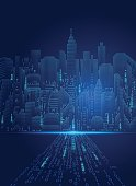 abstract technology background; digital landscape; digital building in matrix style; binary city of blue light,