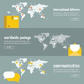 Flat logistics concept of shipping and delivery types. Web vector illustration infographic template set. Process collection maritime shipment, airmail, ground delivery, ship, plane, aircraft, van.