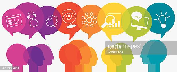 Webinar Concept Heads With Speech Bubbles And Icons