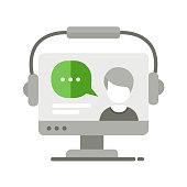 Webinar single isolated modern vector line design icon with a computer display and a tutor teaching online