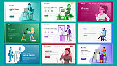 Website Design Template Set Vector. Business Interface. Responsive Banner Interface Architecture. Landing Page, Web, Site. Professional Team. Innovation Idea. Cartoon People. Illustration