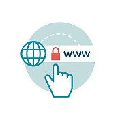 Website encryption and certificate, cyber security icon