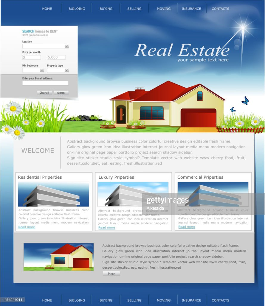 website for the organization of business real estate agency : Vector Art