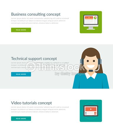 website headers or promotion banners templates and flat icons design