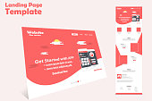 website landing page vector template design