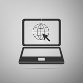 Website on laptop screen icon isolated on grey background. Laptop with globe and cursor. World wide web symbol. Internet symbol for your web site design, icon, app. Flat design. Vector Illustration