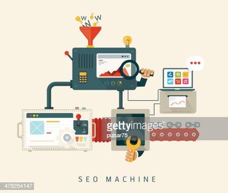 Site Web, SEO, processus d'optimisation de musculation. : clipart vectoriel