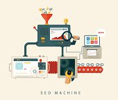 Website SEO machine, process of optimization. Flat style design.
