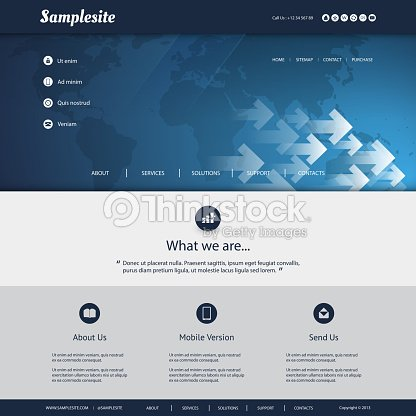 Website Template With World Map And Arrows Pattern Design