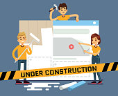 Website under construction vector cartoon concept with web designers. Web site under construction page, illustration of internet construct and development