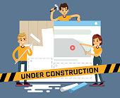 Website under construction vector cartoon concept with web designers. Web site under construction page, illustration of internet construct and development