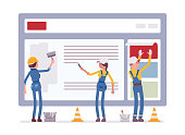 Website under construction. Workers in uniform recovering web site with error message connection, file is not found information. Vector flat style cartoon illustration isolated on white background