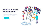 Website under construction concept with characters.  Flat isometric vector illustration isolated on white background.