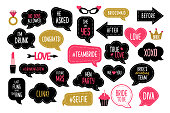 Wedding and bachelorette party photo booth props set. Bridal shower photobooth props. Vector speech bubbles with hen night quotes - team bride, bridesmaid, she said yes.