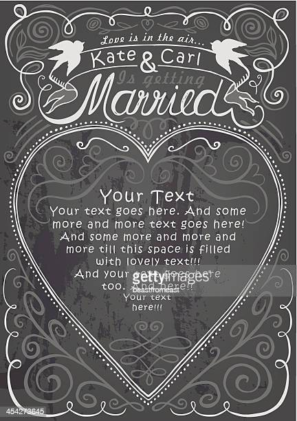 Wedding and engagement party invitation on chalkboard template