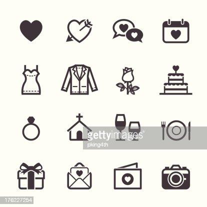 Hochzeit und Liebe Symbole : Vektorgrafik