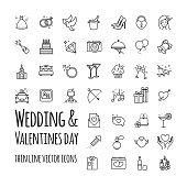 Wedding and Valentines day vector icons set for your design