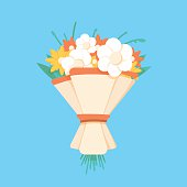 Wedding bouquet flowers vector illustration. Wedding bouquet flowers. Beautiful wedding bouquet isolated on background. Wedding bouquet flat style. Wedding flowers isolated vector