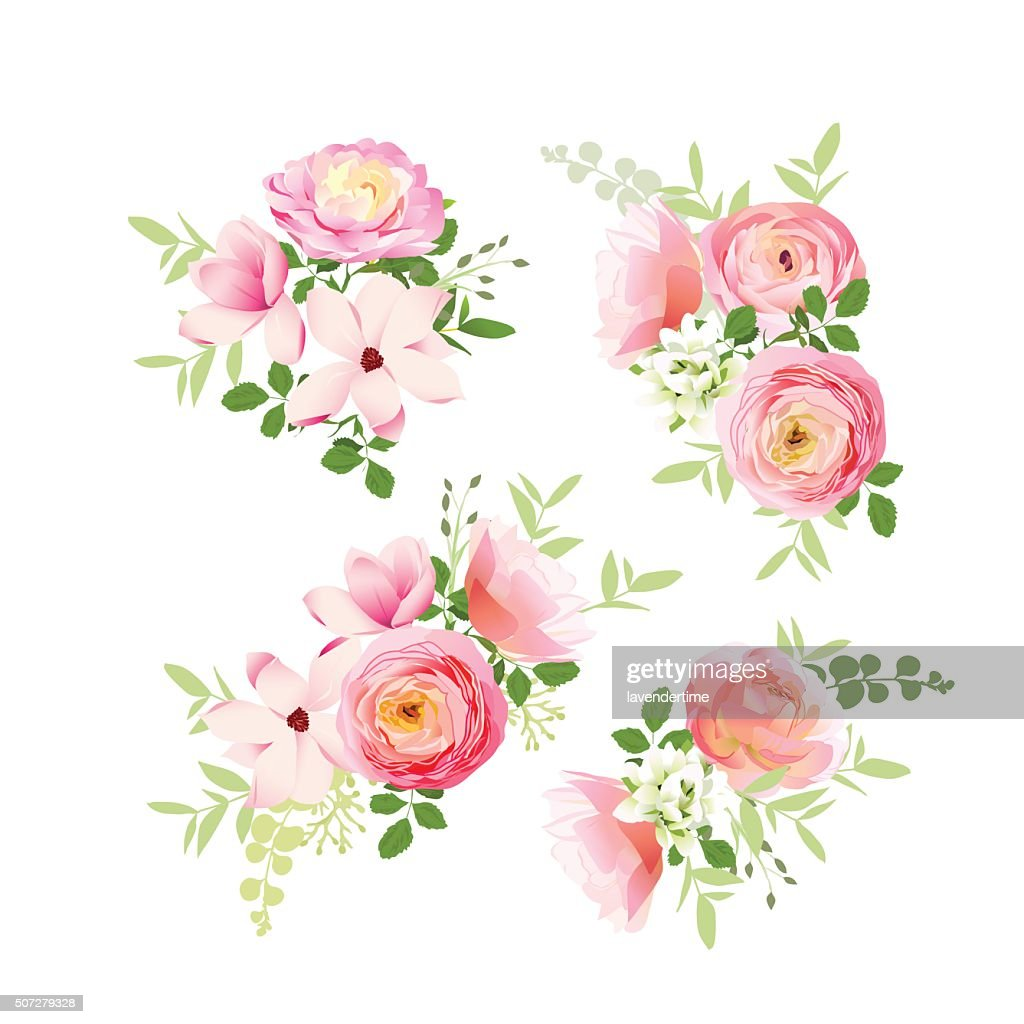 Wedding bouquets of roses, magnolia, ranunculus vector design elements