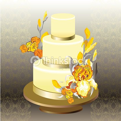 Hochzeitstorte Mit Gelbe Iris Blume Design Vektorgrafik Thinkstock