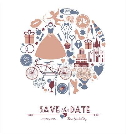 Wedding Card Invitation Of Celebration Symbols Vector Art Thinkstock
