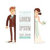 Wedding couple groom and bride cartoon on white background, Wedding invitation card template