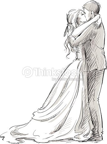 wedding couple kiss newlywed vector sketch vector art. Black Bedroom Furniture Sets. Home Design Ideas