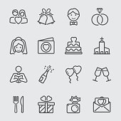 Wedding day line icon