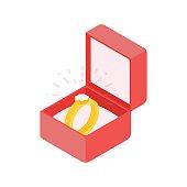 Wedding diamond ring in a box. Vector illustration.