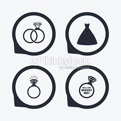 vestido de boda icono novia y el novio anillos símbolo arte