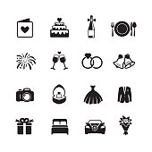 Wedding and engagement icons, Isolated on a white background, Simple clearly defined shapes in one color. Vector
