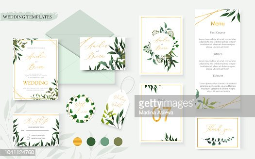 Wedding floral gold invitation card envelope save the date rsvp menu table : stock vector