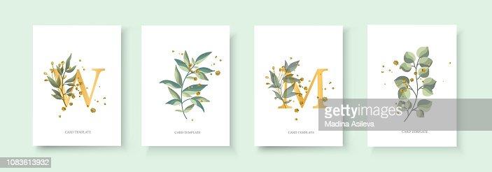 Wedding floral golden invitation card envelope save the date : stock vector