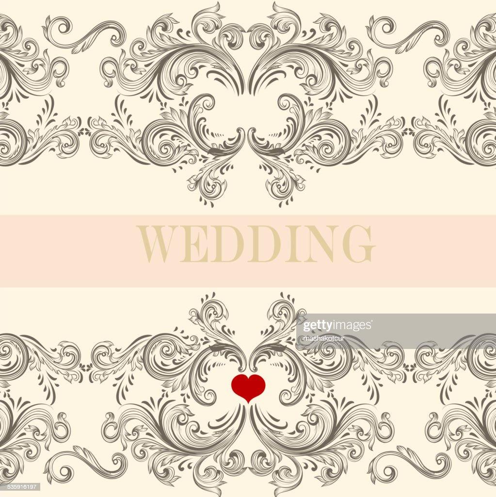 Saudação cartão de Convite de Casamento com emblema de : Arte vetorial