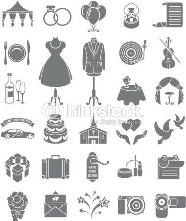 Hochzeit Symbole Dunklen Silhouetten Vektorgrafik Thinkstock