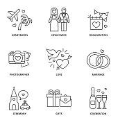 Wedding icons set: honeymoon, newlyweds, organization, photographer, love, marriage, ceremony, gifts, celebration