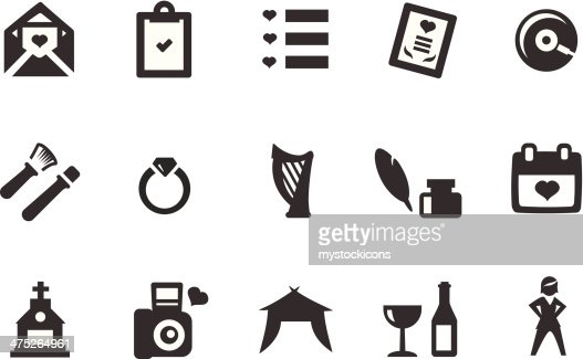 Wedding icons vector art getty images