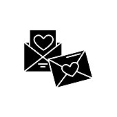 Wedding invitation black icon, concept vector sign on isolated background. Wedding invitation illustration, symbol