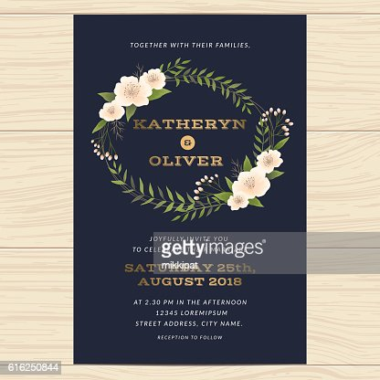 Wedding invitation card template with floral leaf in navy blue. : Arte vetorial