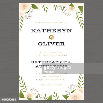 Wedding invitation card template with flower floral leaf background. : Arte vectorial