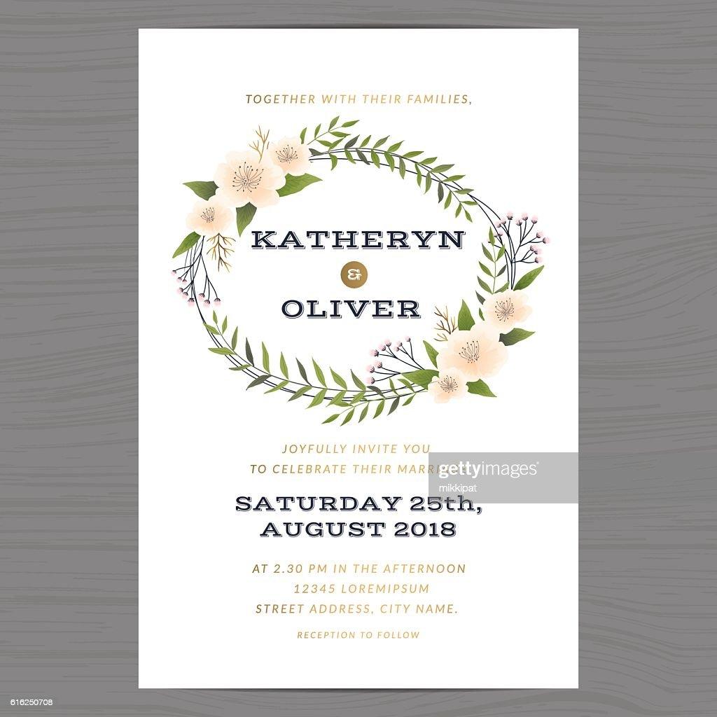 Wedding invitation card template with flower floral leaf background. : Arte vetorial