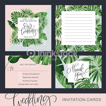 Wedding invitation card tropical background banana save the date wedding invitation card tropical background banana save the date vector template stopboris Gallery